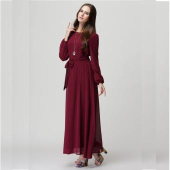 2016 Summer New Fashion Women Long Sleeve Casual Loose all-match Muslim Dress Red - intl