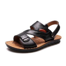 2016 Summer New Men's PU Leather Sandals Men's Fashion Cool Slippers Male Casual Beach Flat With Sandals (Black)