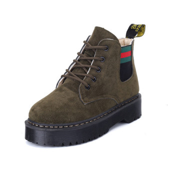 2016 Winter warm Retro boots women increase boots fashion boots suede leather women(Green)