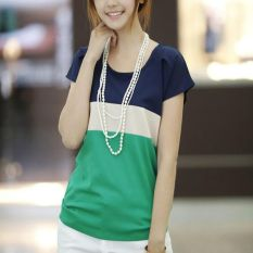 2016 Women Chiffon Tops Crew Neck Batwing Sleeve Ladies Clothes Spell Color Loose Women Clothing Tops Fashion Short Sleeve Green - Intl