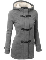 2016 Women Fashion Autumn Coat Zipper Casual Hooded Horn Button Warm Sweatershirt Jackets LightGrey - Intl