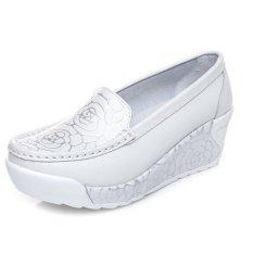 2016 ZYSK baru gaya musim semi dan musim panas Peninggi sepatu casual wanita sepatu fashion wanita yang lembut dan cetak untuk wanita (putih) Z061403