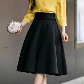 44452bce999ba7 2017 fashion Women Black long skirt high waist Vintage Tutu pleated Skirt  swing party woman skirts