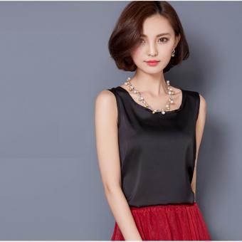 2017 Fashion Women Silk Sleeveless Tank Tops Summer Clothing Casual Tops Shirts Black - intl