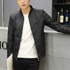 2017 kualitas tinggi pria ' jaket kulit S mode M (hitam) - International