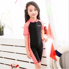2017 New Children Swimsuit One Piece Short Sleeve Swimsuit for Boys & Girls Red - intl