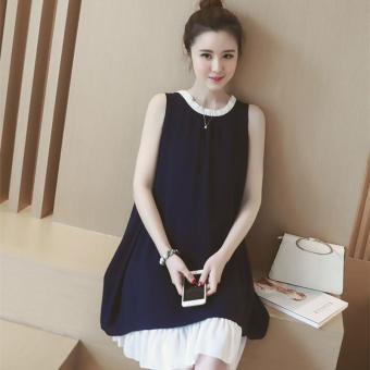 2910913444 2017 New Dark Blue Summer Maternity Dresses Chiffon Dress Pregnancy Clothes  For Pregnant Women Cute Maternity