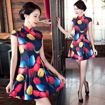 2017 new improved fresh slim slim short cheongsam dress - intl