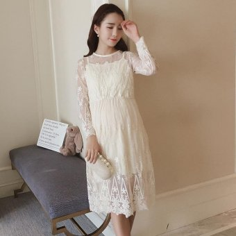 2017 New Maternity Dresses Pregnancy Cothes Spring Maternity Clothes  Pregnant Clothing Lace Maternity Dress For Pregnancy 41302b2f86f7