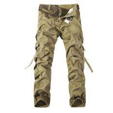 2017 New Men Pants Cargo Army Green Large Pockets Decoration Men Casual Pants Easy Wash Male Autumn Army Pants Plus Size (Khaki) - Intl