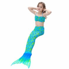 2017 New Style Summer 4-8Y Children Girls Green Blue Mermaid Tail Princess 3pcs/set Swimsuit Kids Bathing Suit Costume S003 - intl