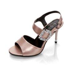 2017 Summer Women Thin High Heels Sandals Rhinestone Big Square Buckle Luxury Peep Toe Sandals Heels