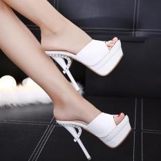 2017 Summer Women's Shoes Stiletto Heels Diamond High-heeled Slippers Sexy Wild Black Platform Slip On Sandals (white)