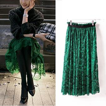 1ee249f18f4963 2017 Women Vintage High Waist Ladies Midi Pleated swing A Line Skirt Plus  Size Green 58cm