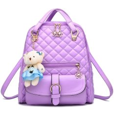 3 In 1 PU Leather Casual Handbag Backpack Shoulder Bag With Bear Pendant And Petal Shape Zipper Purple