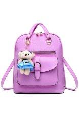 3 In 1 PU Leather Casual Handbag Backpack Shoulder Bag With BearPendant Light Purple - Intl