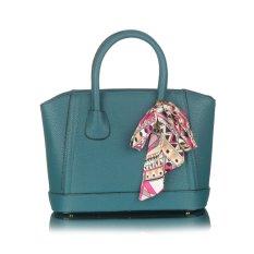360DSC Elegant Women Fashion Stereotypes Shoulder Bag PU Leather Silk Scarf Handbags Tote (Light Blue) - Intl - Intl