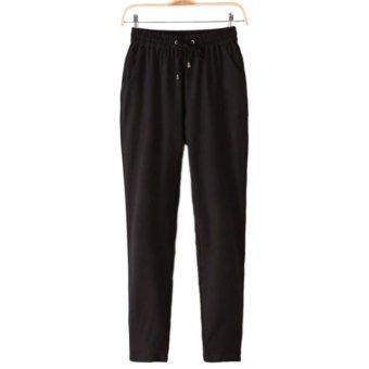 360DSC Ninth Ankle Length Women Casual Comfortable Elastic Waist Haroun Pants - Black XL - intl