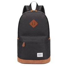 360WISH Kaukko K1001 Men's Canvas Backpack Large Capacity Casual Rucksack School Travel Bag - Black -