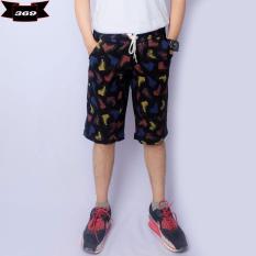 369 Celana Pendek Casual Pria Bahan Katun Printing Motif Sepatu - Hitam