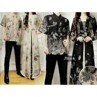 369 Kemeja dan Maxi Dress Couple Batik Elegan Bahan Katun - Hitam