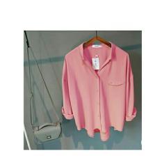 369 Kemeja Hemma Casual Wanita Lengan Panjang - Pink