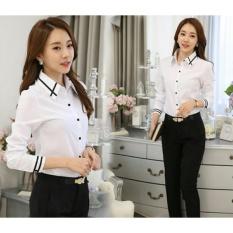 369 Kemeja Lerry Casual Wanita Bahan Silk Korea - Putih