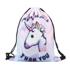 3D Beast Head Digital Printing Drawstring Polyester Storage Backpack Portable Foldable Storage Bag - intl