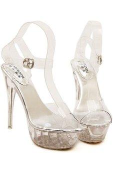 43 Plus Size Women Sexy Transparent Crystal High Heel Pumps - INTL