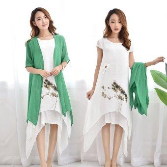 ee6303954d17 6040  2PCS Set Vintage Ink Printed Linen Twinset Maternity Long Dresses  Summer Clothes for