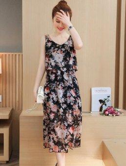b71df825800c6 8031# Floral Printed Chiffon Maternity Nursing Sundress Summer Boho Beach  Long Breastfeeding Dress Clothes for