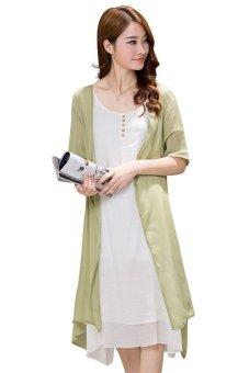 a03fd55a5812 8092  2PCS Set Vintage Linen Twinset Maternity Full Long Dresses Elegant  Summer Clothes for
