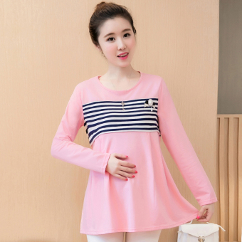 90acd814ee615 8123# Striped Cotton Pleated Patchwork Nursing Tees for Maternity Mother  Spring Autumn Breastfeeding T Shirts