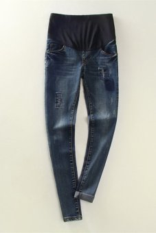 b42b84344b343 9011# Autumn Maternity Denim Belly Jeans With Holes Waist Ajustable Skinny Pants  Clothes for Pregnant