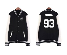 93 Suga Digital Letter Striped Coat Stitching Sleeve Digital LetterBaseball Sweatshirts Tops Black
