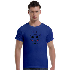 Abstract Giraffe Cartoon Cotton Soft Men Short T-Shirt (Blue)