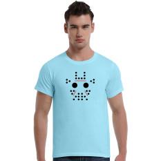 Abstract Giraffe Cartoon Cotton Soft Men Short T-Shirt (Powder Blue)