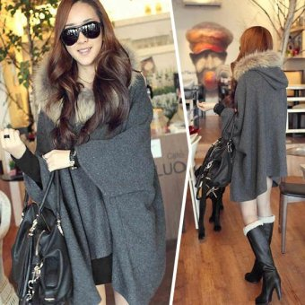 Dark Gray Women Irregular Hem Cape Coat