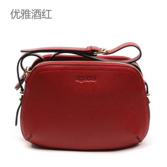 Ai Jibei Baru Multilayer Penyimpanan Tas Wanita Kulit Bahu Messenger Bag (Elegan merah anggur)