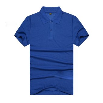 AJFASHION Mens Lapel Short Sleeve Solid Color POLO T-shirt(Royal Blue)