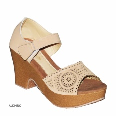 Aldhino Sepatu Sandal Wedges Wanita BJ03 - Camel