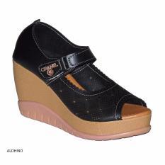 Aldhino Sepatu Sandal Wedges Wanita MGS-01 Hitam