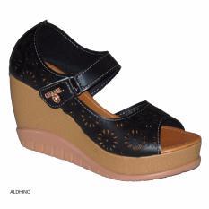 Aldhino Sepatu Sandal Wedges Wanita MGS-03 - Hitam
