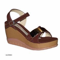 Aldhino Sepatu Sandal Wedges Wanita PN-17 - Coklat