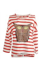 All-match Women's Girls Owl Print Round Collar Batwing Long Sleeve Loose Striped T-Shirt Tops - Size S Red + White