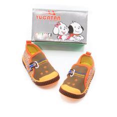 Alldaysmart Yucatan Sepatu Sneakers Baby IBB 5559 - Olive/Orange Size 18-22