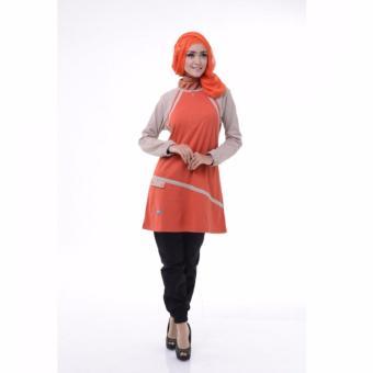 Alnita Blouse Atasan AA-11 Kaos Wanita Baju Muslim Tunik Kemeja Kaos Merah Bata