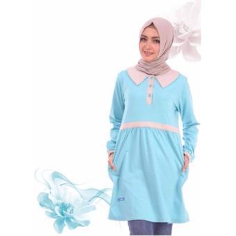 Alnita Blouse Atasan AA-12 Kaos Wanita Baju Muslim Tunik Kemeja Kaos Biru Turquise
