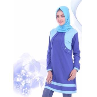 Alnita Blouse Atasan AA-13 Kaos Wanita Baju Muslim Tunik Kemeja Kaos Biru Benhur Tua