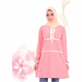 Alnita Blouse Atasan AA-14 Kaos Wanita Baju Muslim Tunik Kemeja Kaos Peach